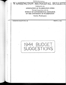 Cover of 1944 Budget Suggestions